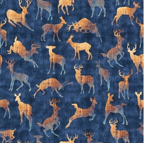 Picture of Timberland Trail Animal Silhouettes Deer Doe Buck Blue Cotton Fabric