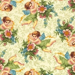 Picture of Walk by Faith Cherubs and Flowers Tiny Angels Cotton Fabric