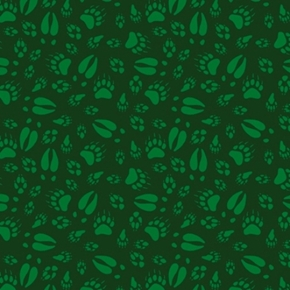 Picture of North Woods Neighbors Animal Tracks Hoof Prints Green Cotton Fabric
