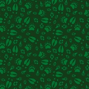 North Woods Neighbors Animal Tracks Hoof Prints Green Cotton Fabric