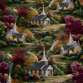 Spring Chapels Thomas Kinkade Country Church Cotton Fabric