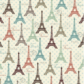 Picture of Eiffel Spring Towers Vintage Paris Travel Polka Dots Cotton Fabric