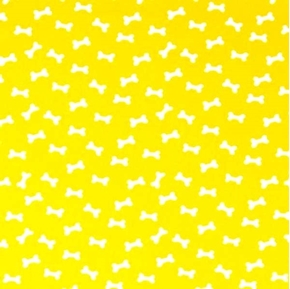 Picture of Daddy and Me White Dog Bones on Yellow Cotton Fabric