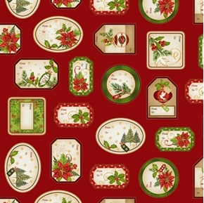 Christmas Village Holiday Gift Tags Gold Metallic Red Cotton Fabric