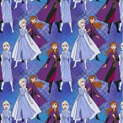 Picture of Disney Frozen 2 Elsa and Anna Together Purple Movie Cotton Fabric