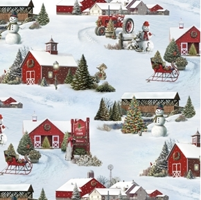 Tis the Season Holiday Farm Christmas Barn Snow Scene Cotton Fabric