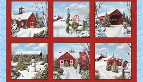 Tis the Season Holiday Farm Christmas Barn 24x44 Cotton Fabric Panel