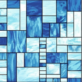 Mosaic Forest Blue Stained Glass Cotton Fabric