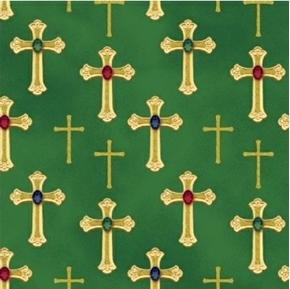 Picture of Three Kings Metallic Gold Crosses Jewels Emerald Green Cotton Fabric