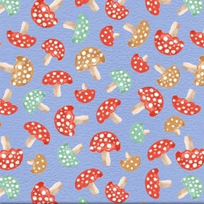 A Walk in the Woods Mushroom Tiny Mushrooms on Blue Cotton Fabric
