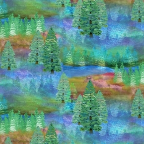 Wild and Whimsy Trees Mystical Tree Rainbow Forest Cotton Fabric