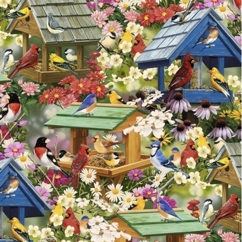 "Spring Again Song Birds and Bird Houses Cardinals 24x22"" Cotton Fabric"
