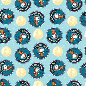 Snoopy Needs Space Peanuts I Need My Space Badges Cotton Fabric