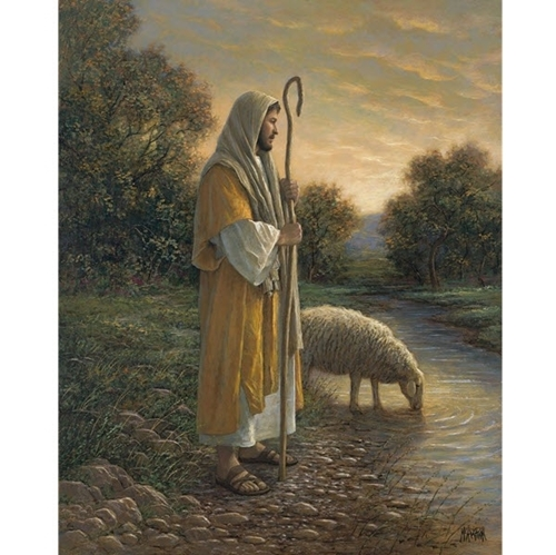 The Good Shepherd Large Religious Digital Cotton Fabric Panel