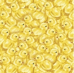 Picture of Sunflower Market Baby Chicks Chickens Yellow Peeps Cotton Fabric