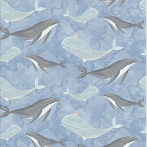 Picture of Adventures in the Sky Whales Swimming on Blue Whale Cotton Fabric