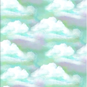 In The Meadow White Clouds on a Pink Turquoise Sky Cloud Cotton Fabric