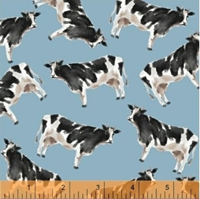Picture of Silo Cow Farm Animals Dairy Cows on Blue Cotton Fabric