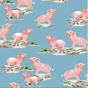 Picture of Silo Pig Farm Animals Pink Pigs on Blue Cotton Fabric