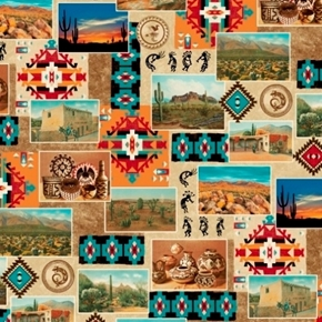 Adobe Southwest Aztec Photos Pottery and Kokopeli Cotton Fabric