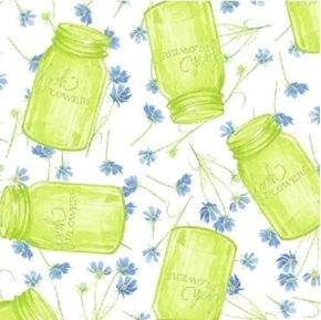 Picture of Cottage Joy Canning Jars and Fresh Flowers Blue Flower Cotton Fabric
