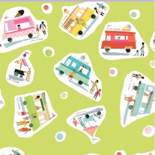 Picture of Sweet Treats Ice Cream Trucks Ice Pop Stand Green Cotton Fabric