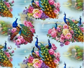 Picture of Exotica Peacock Birds Beautiful Peacocks and Flowers Cotton Fabric