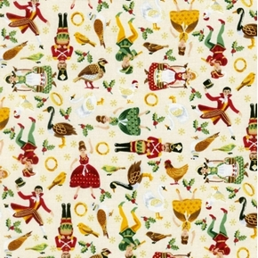 Twelve Days of Christmas Icons Maids Drummers Geese Cotton Fabric