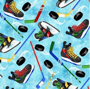 Tossed Hockey Fun Skates Sticks Pucks Blue Ice Cotton Fabric