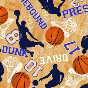 Basketball Game Motifs Rebound Dunk Drive Court Cotton Fabric