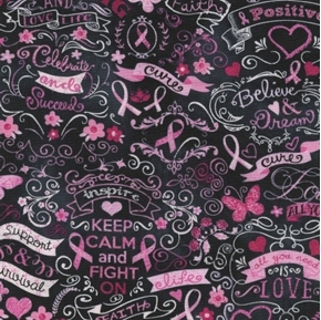 Picture of Pink Ribbon Chalkboard Breast Cancer Support Cure Black Cotton Fabric