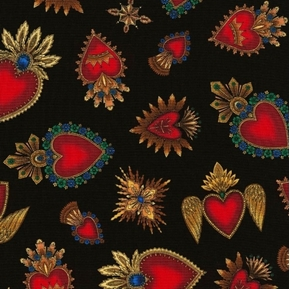 Picture of Day of the Dead Sacred Heart Red Hearts on Black Cotton Fabric