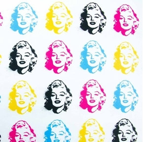 Picture of Marilyn Monroe Iconic Actress Face Bright Faces White Cotton Fabric