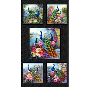 Exotica Peacocks Beautiful Birds and Flowers 24x44 Cotton Fabric Panel