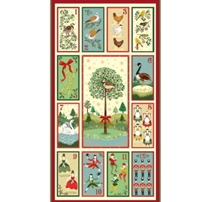Twelve Days of Christmas Holiday Song 24x44 Cotton Fabric Panel