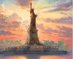 Dedicated to Liberty American Statue Thomas Kincade Fabric Panel