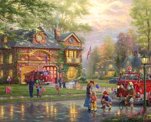 Picture of Hometown Firehouse Firefighter Celebration Thomas Kincade Fabric Panel
