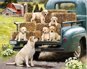 Picture of Green Truck and Pups Labrador Puppy Dog Farm Cotton Fabric Panel