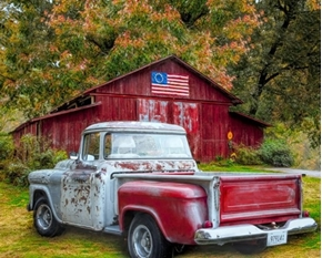 Picture of Southern Vintage Red Truck Country Barn Patriotic Digital Fabric Panel