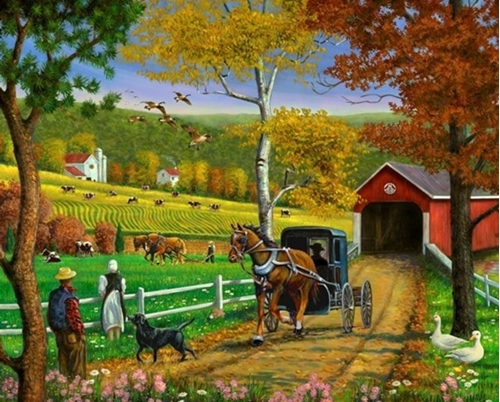 Covered Bridge Amish Farm in Fall Digital Cotton Country Fabric Panel