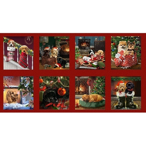 Fireside Pups Christmas Dogs Holiday Puppy Blocks 24x44 Fabric Panel