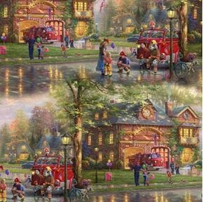 Hometown Firehouse Firefighter Support Thomas Kincade Cotton Fabric