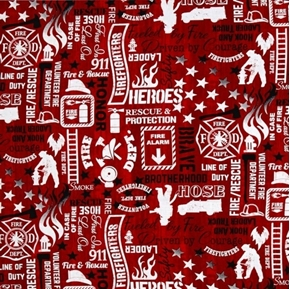 Picture of Firefighter Words Volunteer Fireman Rescue 911 Hero Red Cotton Fabric