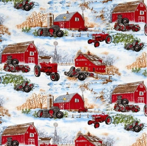 Picture of Farmall Barns and Tires Country Farm Tractors in Snow Cotton Fabric