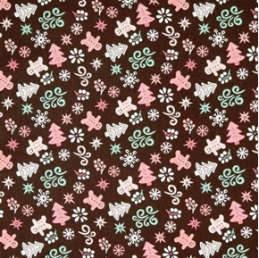 Gingerbread Bakery Cookies Holiday Cookies Dark Brown Cotton Fabric