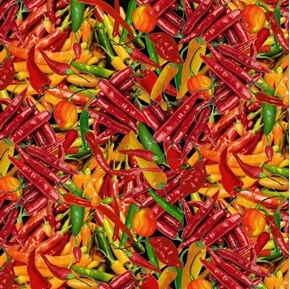 Picture of Hot Peppers Scotch Bonnet Cayenne Chili Jalapeno Pepper Cotton Fabric