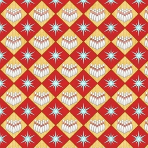 Bowl-A-Rama Bowling Diamond Pins Red Cotton Fabric