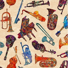 Picture of Fine Tuning Batik Instruments Musical Instrument Cream Cotton Fabric