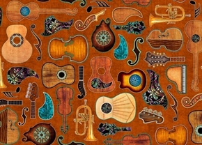 Picture of Fine Tuning Guitars Guitar Parts Music Instruments Rust Cotton Fabric