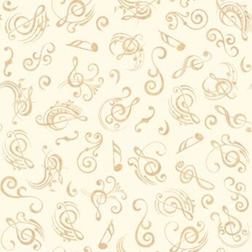 Picture of Fine Tuning Music Notes Musical Note Cream Cotton Fabric